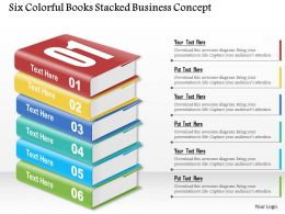 0914 Business Plan Six Colorful Books Stacked Business Concept Powerpoint Template