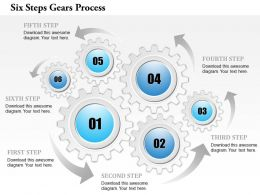 0914 Business Plan Six Steps Gears Process Powerpoint Template