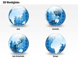 0914 Business Plan Small 3d Glossy Continents Specialized Globes PowerPoint Presentation Template