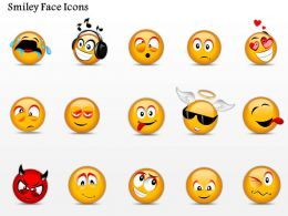 0914 Business Plan Smiley Face Icons Powerpoint Template