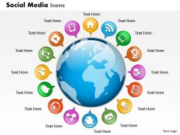 0914 Business Plan Social Media Icons Globe Powerpoint Presentation Template