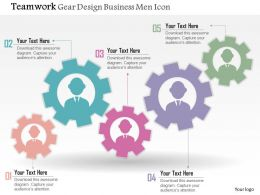 0914 Business Plan Teamwork Gear Design Business Men Icon Powerpoint Presentation Template