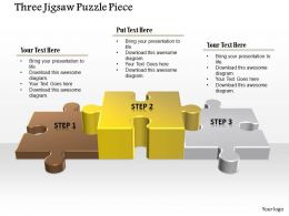 0914 Business Plan Three Jigsaw Puzzle Piece Powerpoint Template