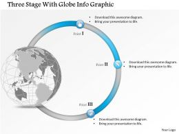 0914 Business Plan Three Stage With Globe Info Graphic Powerpoint Presentation Template