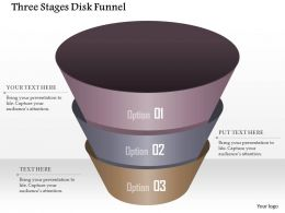 0914 Business Plan Three Stages Disk Funnel Powerpoint Template