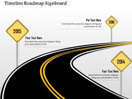0914 Business Plan Timeline Roadmap Signboard Image Powerpoint Presentation Template