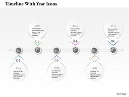 0914 Business Plan Timeline With Year Icons Info Graphic Powerpoint Presentation Template
