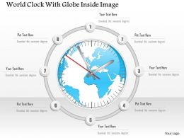 0914 Business Plan World Clock With Globe Inside Image Powerpoint Template
