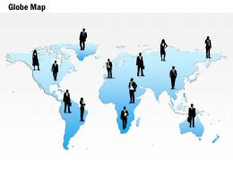 0914 Business Plan World Map With Business Executives PowerPoint Presentation Template