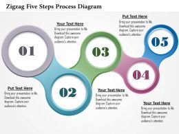 0914 Business Plan Zigzag Five Steps Process Diagram Powerpoint Template