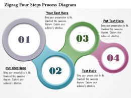 0914 Business Plan Zigzag Four Steps Process Diagram Powerpoint Template