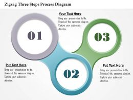 0914 Business Plan Zigzag Three Steps Process Diagram Powerpoint Template