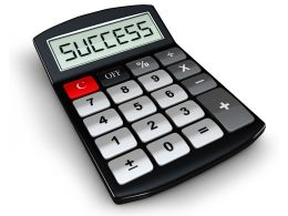 0914 Calculator With Success Word On Display Stock Photo