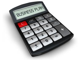 0914 Calculator With Text Business Plan Stock Photo