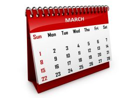 0914 Calendar For Month Of March To Set Reminder Stock Photo