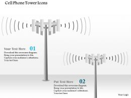 0914 Cell Phone Tower Icons Cellular Mobile Ppt Slide