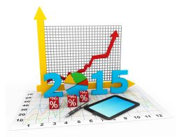 0914 Charts With Year 2015 For Financial Planning Stock Photo