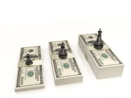 0914 Chess Figures Black King Queen And Pawn Standing On Dollars Stock Photo