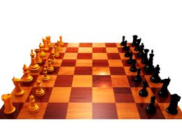0914 Chess Pieces On Chess Board For Team Strategy Stock Photo