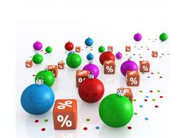 0914 Christmas Balls And Dices Of Percent Symbol Stock Photo