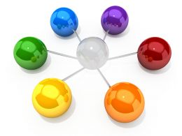 0914 Circular Network Of Colorful Spheres Stock Photo