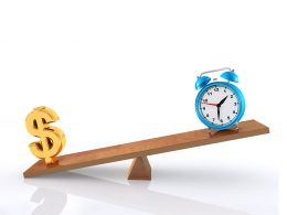 0914 Clock And Dollar Sign On Seesaw Finance Abstract Image Stock Photo