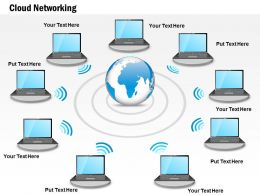 0914 Cloud Networking Shown By Globe And Computer Connected Over Wireless Ppt Slide