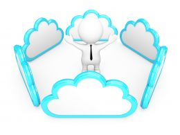 0914 Clouds Around Business Man For Cloud Computing Connection Stock Photo