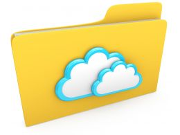 0914 Clouds On Computer Folder For Cloud Storage Stock Photo