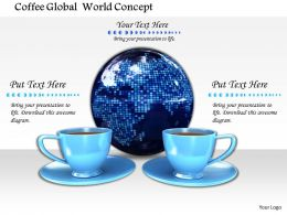 0914 Coffee Cups With Glossy Globe Image Graphics For PowerPoint