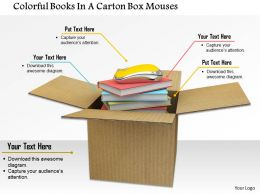 0914 Colorful Books In A Carton Box Mouse Image Graphics For PowerPoint
