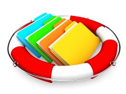 0914 Colorful Folders In Lifesaver For Back Up Files Stock Photo