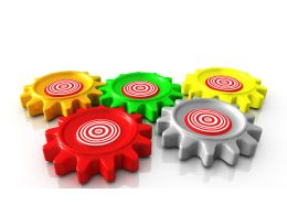 0914 Colorful Gear Target Board Design Image Graphic Stock Photo