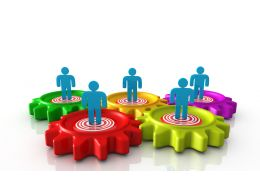 0914 Colorful Gear With 3d Man On It Image Graphic Stock Photo