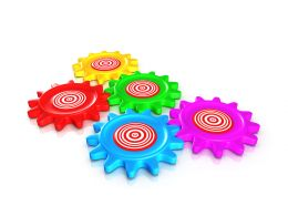 0914 Colorful Gear With Target Board Image Graphic Stock Photo
