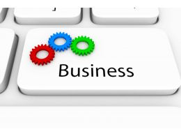 0914 Colorful Gears On Business Key For Business Process Stock Photo