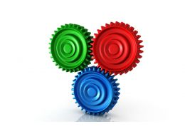 0914 Colorful Gears Process Concept Image Graphic Stock Photo