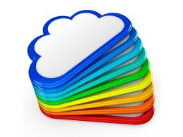 0914 Colorful Icons Of Clouds For Cloud Computing Stock Photo