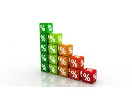 0914 Colorful Percent Cubes Finance Image Graphic Stock Photo