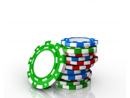 0914 Colorful Poker Chips For Casino Gambling Stock Photo