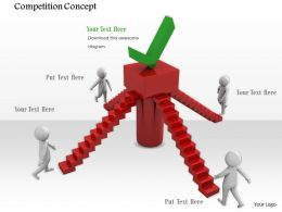 0914 Competition Concept 3d Men Tick Mark Image Graphics For PowerPoint