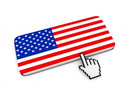 0914 Computer Cursor Pointing At American Flag Stock Photo