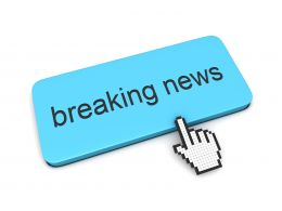 0914 Computer Cursor Pointing At Breaking News Stock Photo