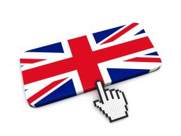 0914 Computer Cursor Pointing At British Flag Stock Photo