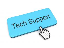 0914 Computer Cursor Showing Tech Support Stock Photo