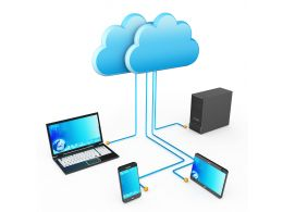 0914 Computer Devices Connected To Cloud Server Stock Photo