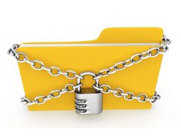 0914 Computer Folder Locked With Chain For Security Stock Photo