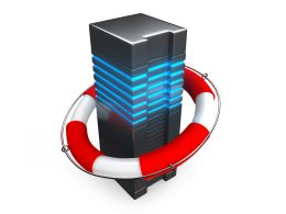 0914 Computer Server In Lifesaver For Backup Strategy Stock Photo