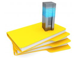 0914 Computer Server On Yellow Folders For Data Storage Stock Photo