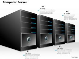 0914 Computer Server Stack In A Line With Computer And Power Switch Ppt Slide